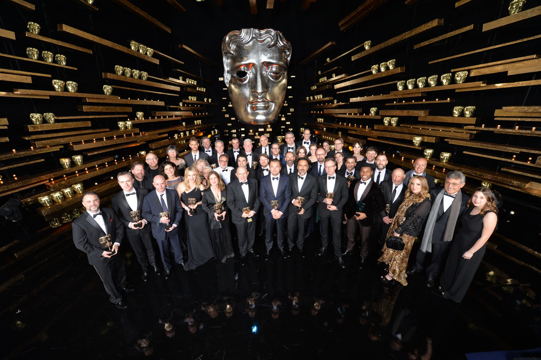 Event: EE British Academy Film AwardsDate: Sun 14 February 2016Venue: Royal Opera HouseHost: Stephen Fry-Area: WINNERS GROUP SHOT