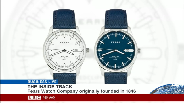 The Fears Redcliff Date with blue dial on a blue strap is accounting for a quarter of all sales, according to Mr Bowman-Scargill.