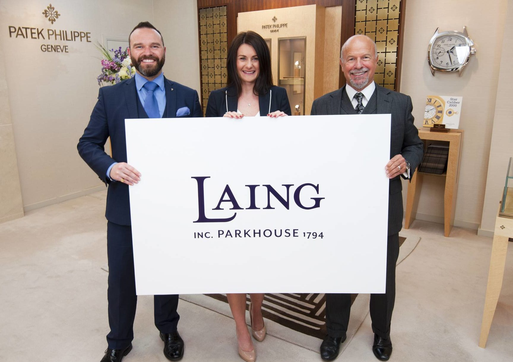 Laing move to national brand pictured from left to right Director Richard Laing with Karla Ducker GM Parkhouse in Hampshire and Chairman Michael Laing OBE