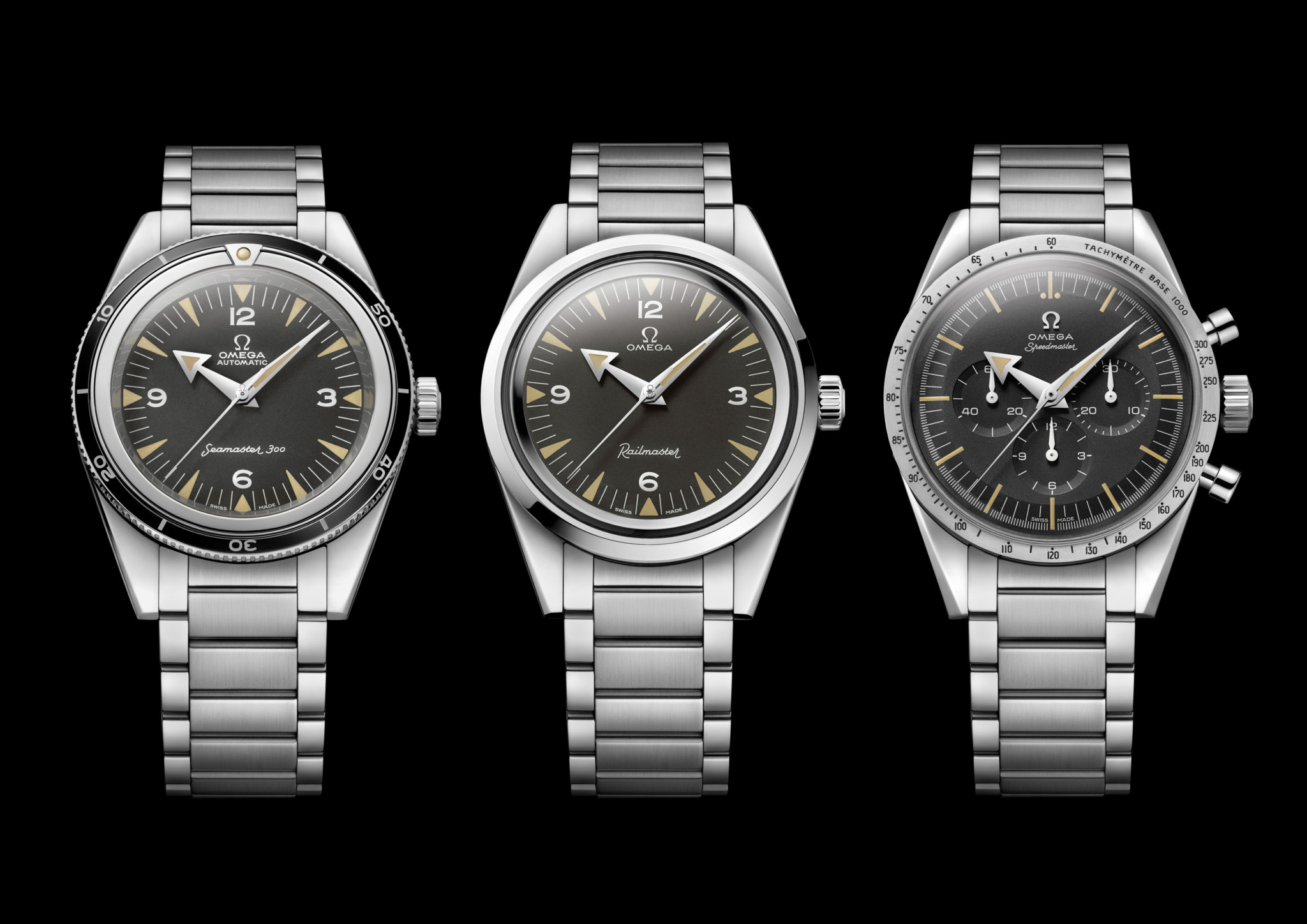 The trilogy of anniversary models from Omega is made up of the Seamaster, Railmaster and Speedmaster.