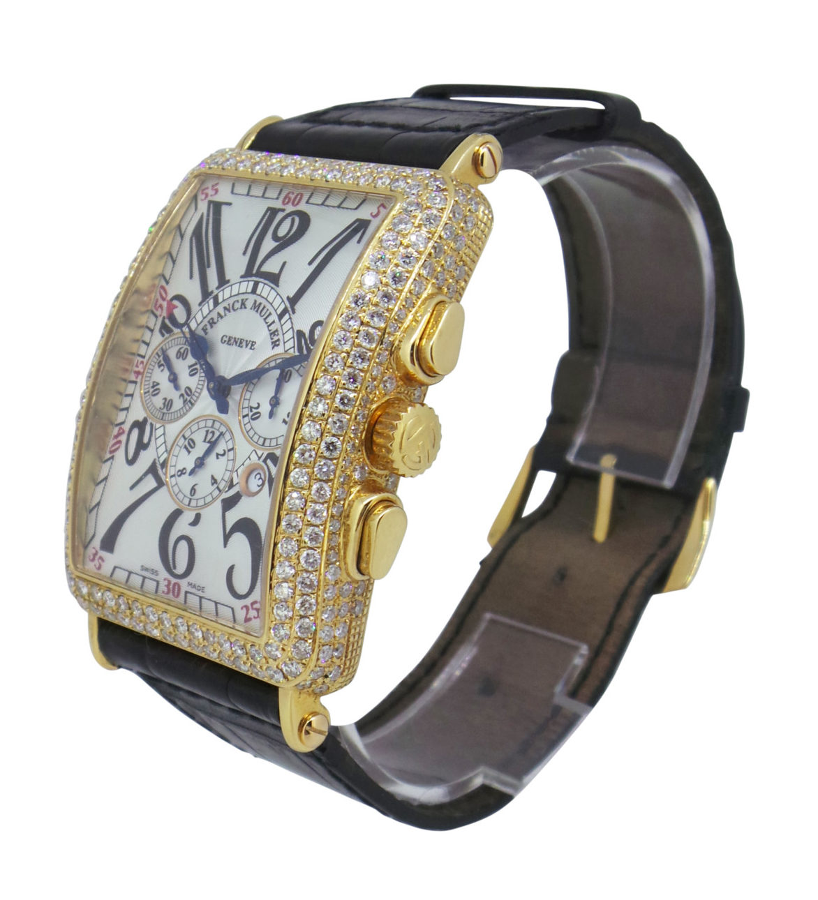Franck Muller Model: Long Island Model Number: 95 Movement Type: ETA 2094 Automatic (Chronograph) Bracelet: Black leather strap Case: 18ct yellow gold, all diamond set Dial: Silver Bezel Size: 32x45mm Box: No Papers: No Estimated NRP: £11,100.