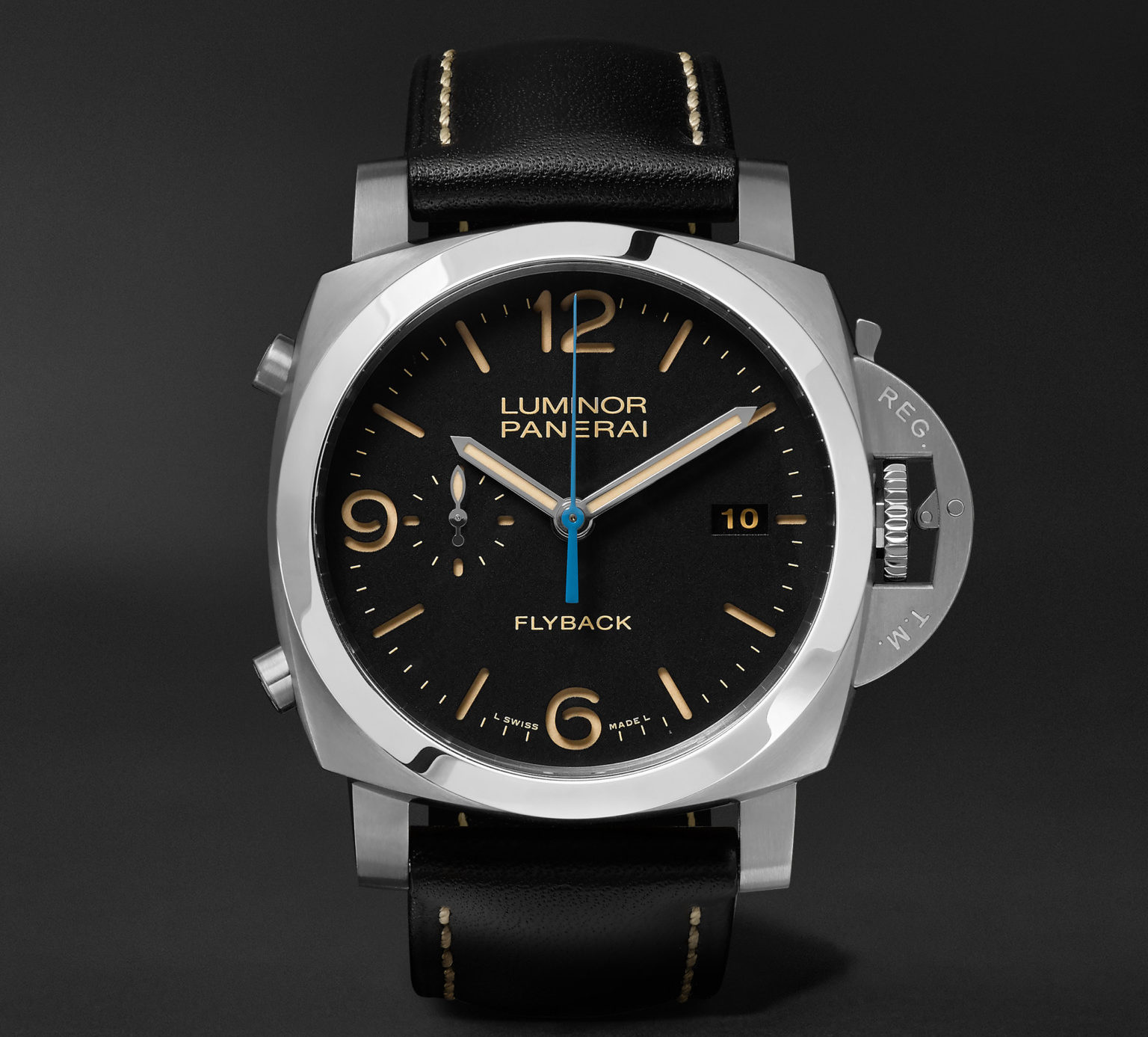 Panerai Luminor 1950 3 Days 44mm Automatic Flyback Chronograph Stainless Steel and Leather Watch