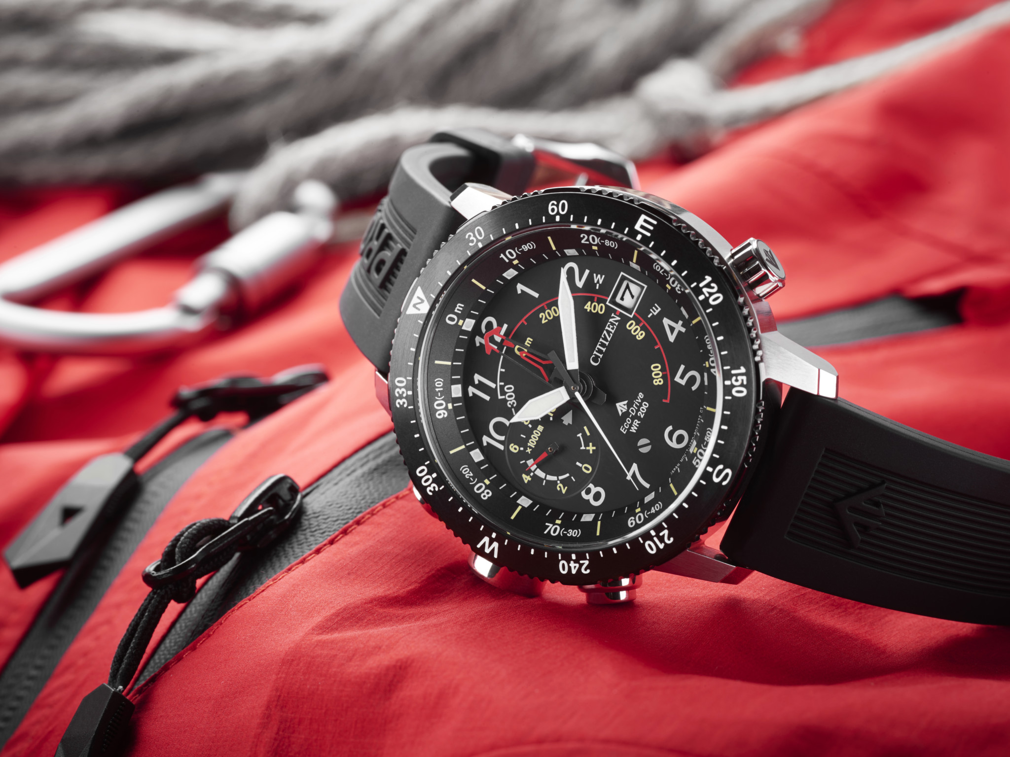 Citizen Promaster Altichron — Eco-Drive technology is joined by an altimeter and a compass for the ultimate adventure-seeker's timepiece. )