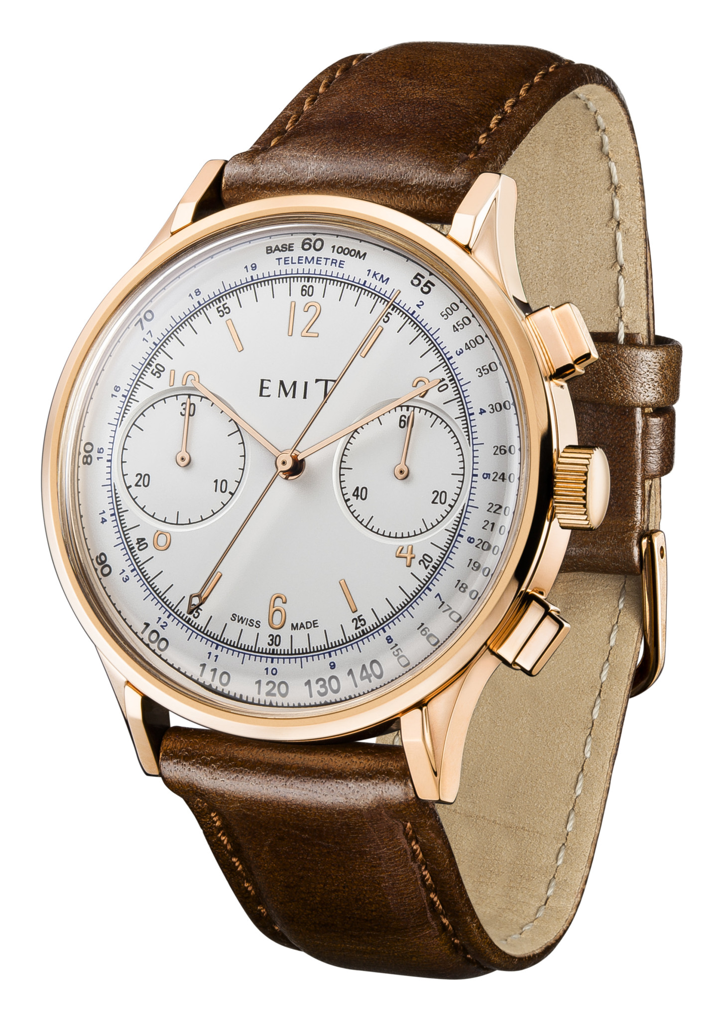 The tachymeter bezel, shown here on the Swiss-made Emit Chronograph, is one of the key distinguishing features on iconic chronograph watches.