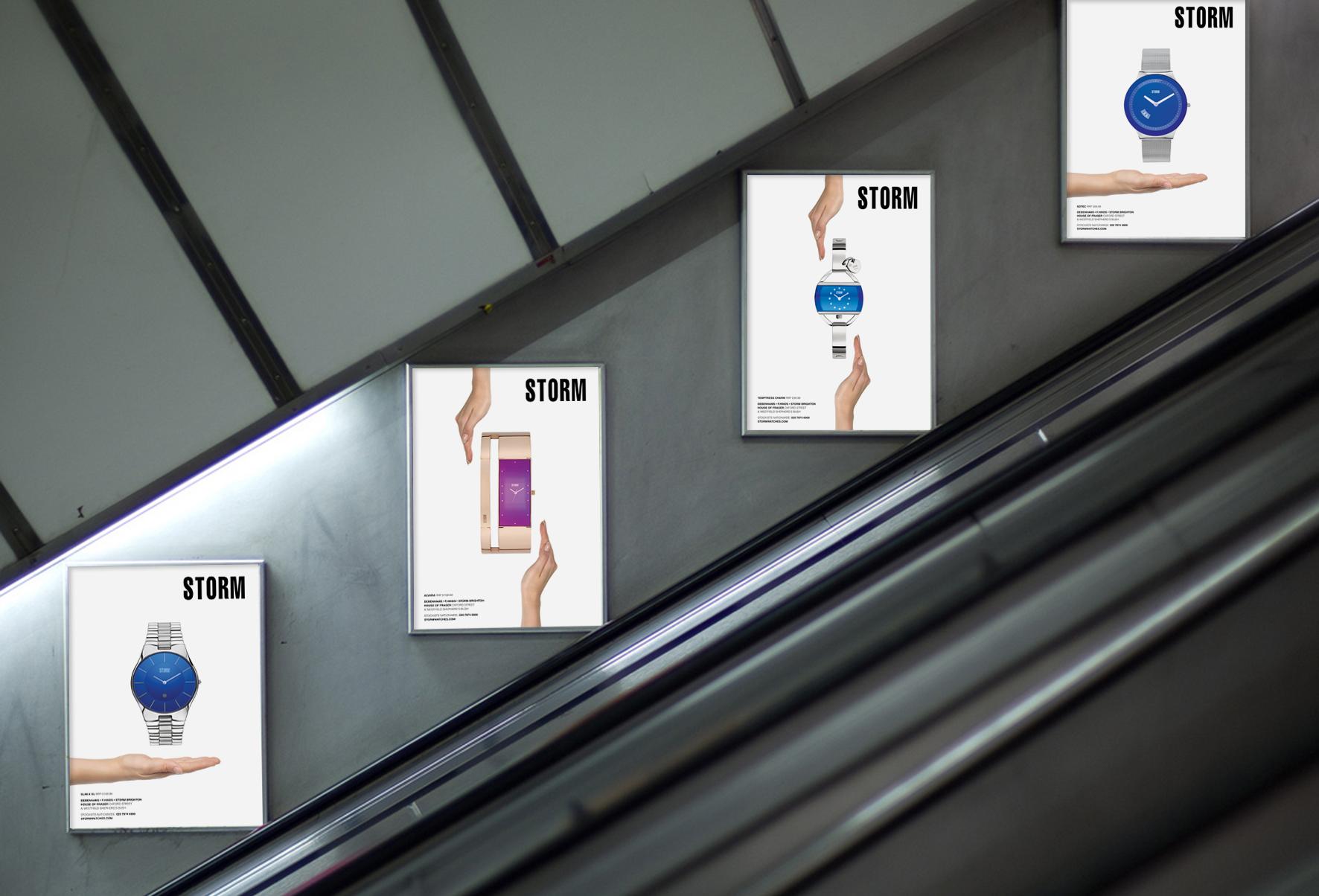 Posters on the escallator in Pimlico Station.