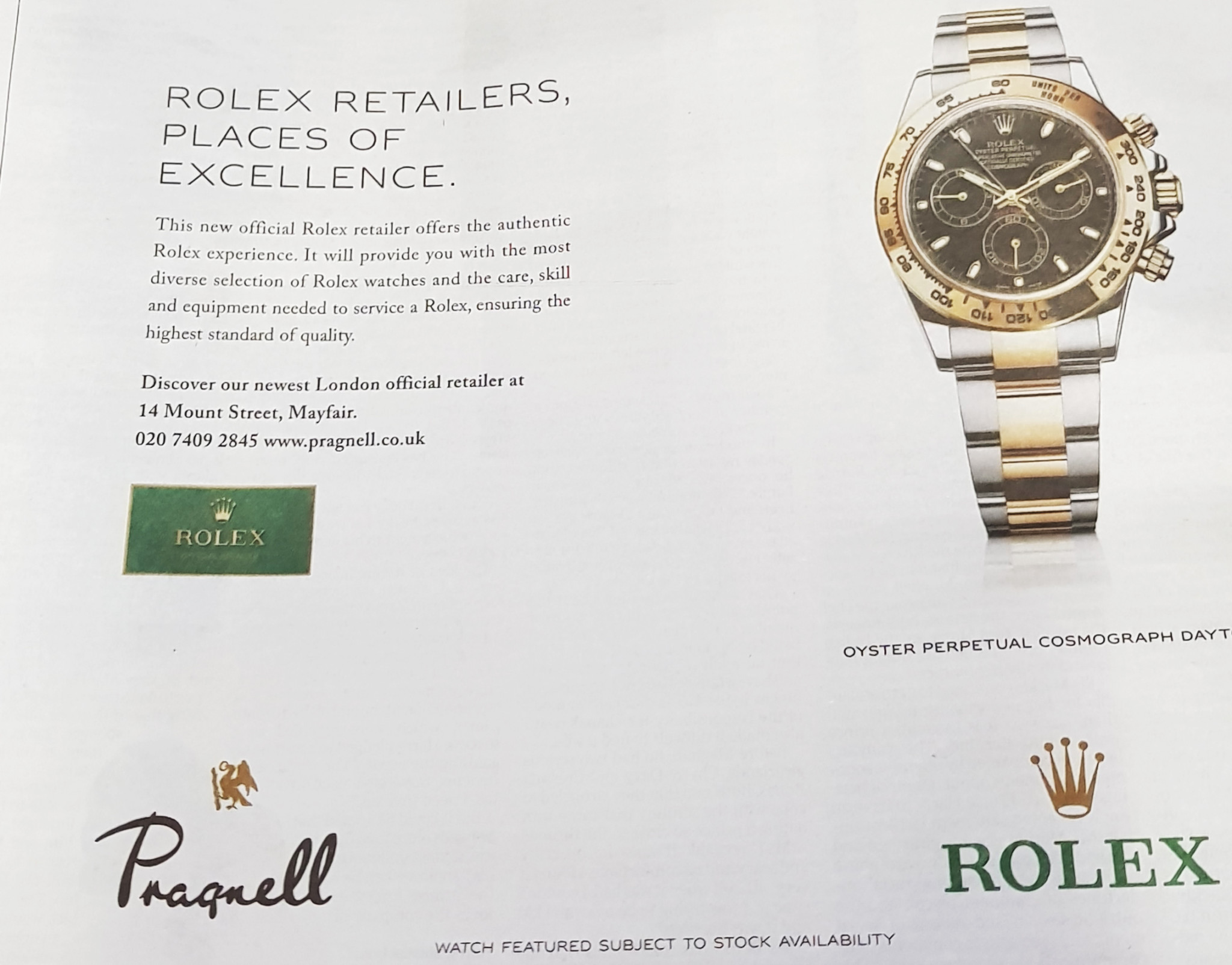 An advert in The Times promotes the opening of Pragnell in Mayfair.