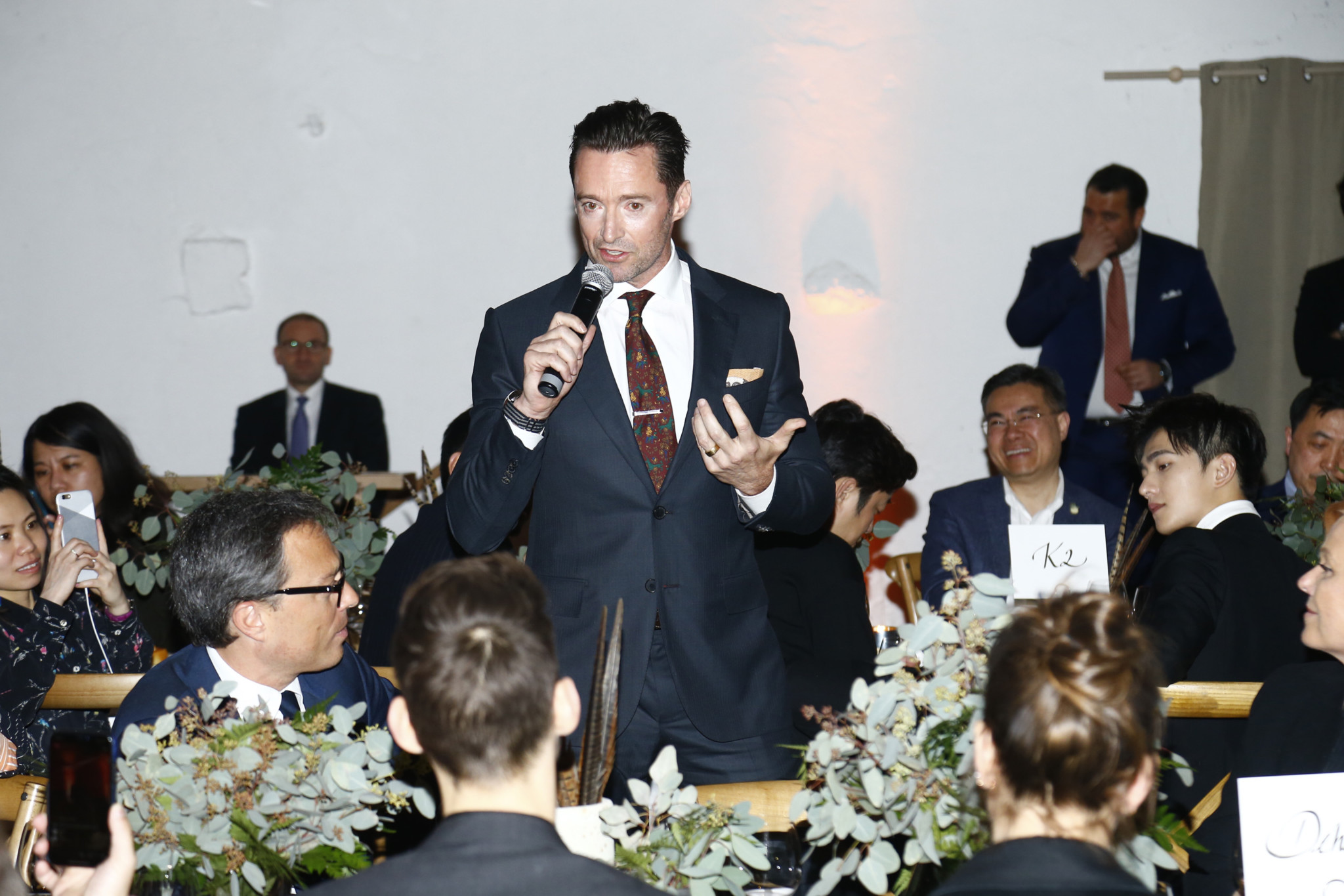 Hugh Jackman saying a few words at the dinner