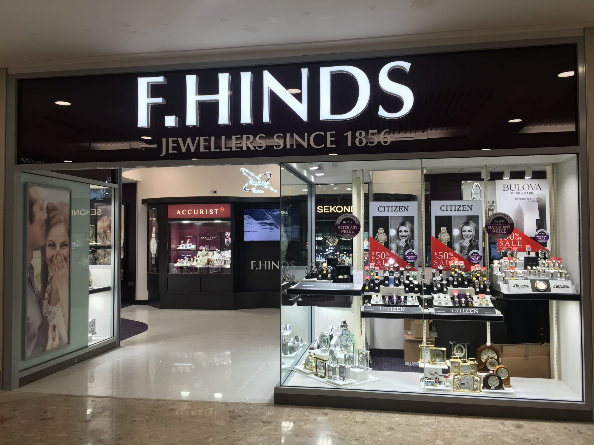 F Hinds storefront