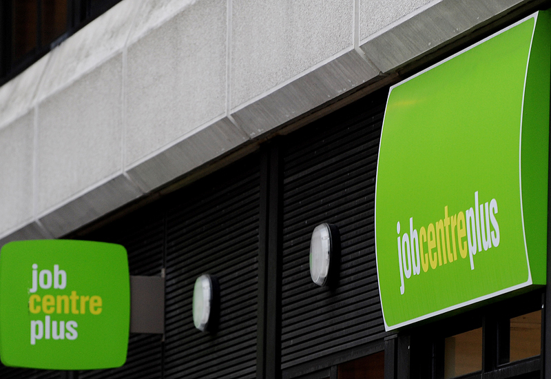 The sign of a job centre is displayed in