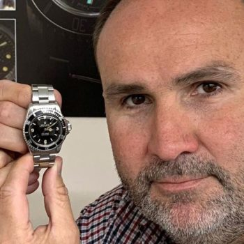 David-Hare-with-former-miners-Rolex-watch